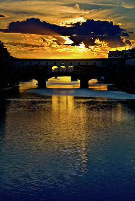 Photograph - Ponte Vecchio Sunset  by Harry Spitz