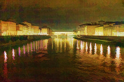 Photograph - Ponte Vecchio Watercolor by Adam Rainoff
