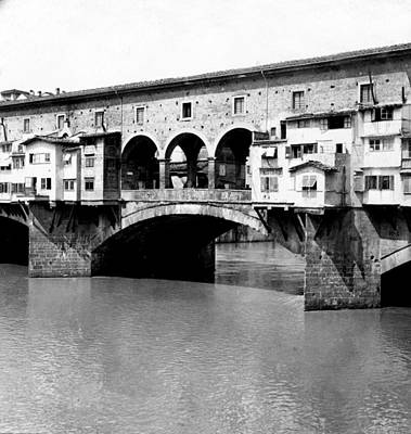 White River Scene Photograph - Ponte Vicchio Bridge In Florence Italy - C 1905 by International  Images