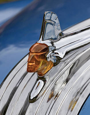 1952 Pontiac Catalina Chieftan Lighted Hood Ornament Art Print by Betty Denise