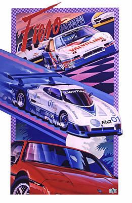 Sports Paintings - Pontiac Fiero Racing Poster by Garth Glazier