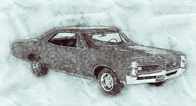 Transportation Mixed Media - Pontiac GTO 1 - 1967 - Automotive Art - Car Posters by Studio Grafiikka