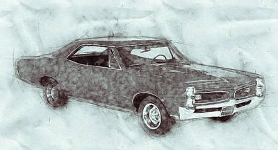 Mixed Media Royalty Free Images - Pontiac GTO 1 - 1967 - Automotive Art - Car Posters Royalty-Free Image by Studio Grafiikka