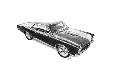 American Cars Drawing - Pontiac Gto 1967 by Gabor Vida