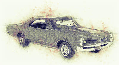 Transportation Mixed Media - Pontiac GTO - 1967 - Automotive Art - Car Posters by Studio Grafiikka