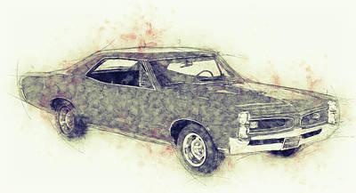 Mixed Media Royalty Free Images - Pontiac GTO - 1967 - Automotive Art - Car Posters Royalty-Free Image by Studio Grafiikka