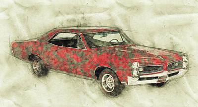 Mixed Media Royalty Free Images - Pontiac GTO 2 - 1967 - Automotive Art - Car Posters Royalty-Free Image by Studio Grafiikka