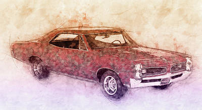 Mixed Media Royalty Free Images - Pontiac GTO 3 - 1967 - Automotive Art - Car Posters Royalty-Free Image by Studio Grafiikka