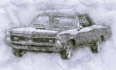 Royalty-Free and Rights-Managed Images - Pontiac GTO 4 - 1967 - Automotive Art - Car Posters by Studio Grafiikka