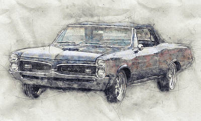 Transportation Royalty-Free and Rights-Managed Images - Pontiac GTO 5 - 1967 - Automotive Art - Car Posters by Studio Grafiikka