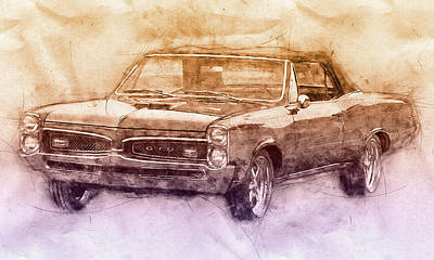 Transportation Royalty-Free and Rights-Managed Images - Pontiac GTO 6 - 1967 - Automotive Art - Car Posters by Studio Grafiikka