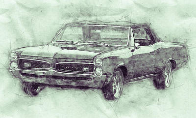Transportation Mixed Media - Pontiac GTO 7 - 1967 - Automotive Art - Car Posters by Studio Grafiikka