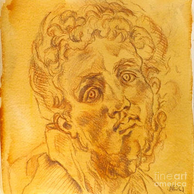 Drawing - Pontormo - Italian Renaissance, Mannerism, Drawing Portrait, Jacopo Pontormo by Alessandro Nesci