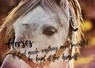 Pony At Sunset Quote Art Print by JAMART Photography