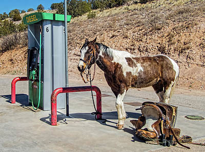 Art Print featuring the photograph Pony At The Pump by Britt Runyon
