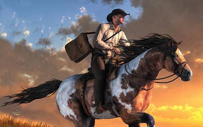 American West Digital Art - Pony Express by Daniel Eskridge