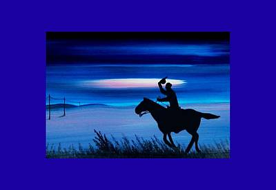 Painting - Pony Express Rider Blue by Reggie Hart