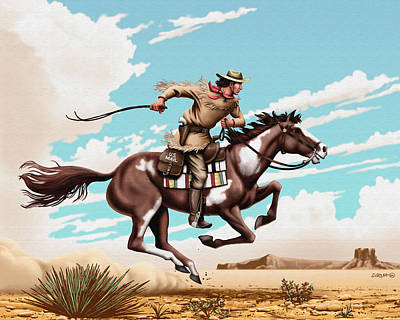 Old West Digital Art - Pony Express Rider Historical Americana Painting Desert Scene by Walt Curlee
