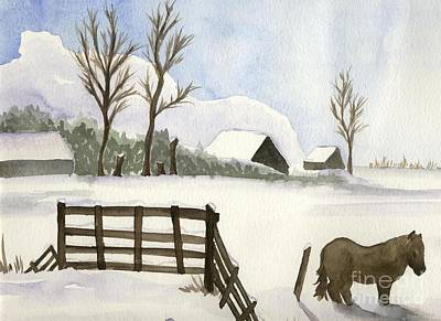 Painting - Pony In The Snow by Annemeet Hasidi- van der Leij