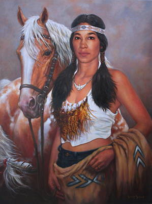 Indian Pony Painting - Pony Maiden by Harvie Brown