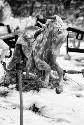 Photograph - Ponyhenge 1 Bw by John Hoey