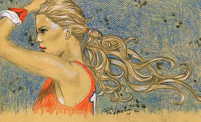 Colored Pencil Portrait Drawing - Ponytail Run by PJ Lewis
