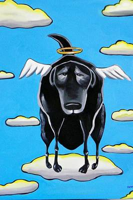 Poo Dog Goes To Heaven Art Print by Rhondda Saunders