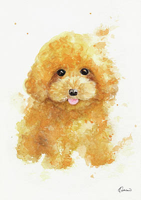 Watercolor Pet Portraits Painting - Poodle Puppy by Kathleen Wong