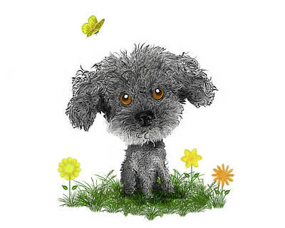 Puppy Digital Art - Poodle Puppy by Susan Carter