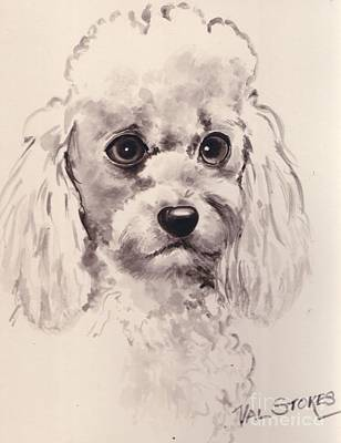 Poodlepup Art Print by Val Stokes