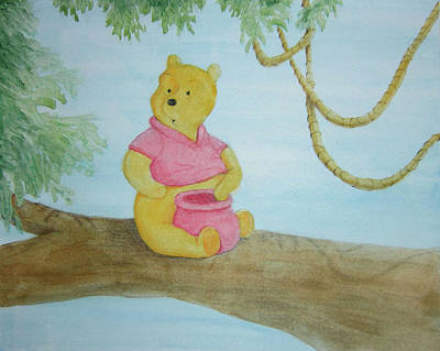 Painting - Pooh And The Honey Pot by Steven Powers SMP