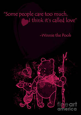 Love Digital Art - Pooh - Cute Love Quote - Pink Black by Prar Kulasekara