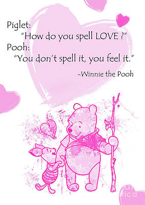Pooh - Cute Love Quote - Pink Art Print