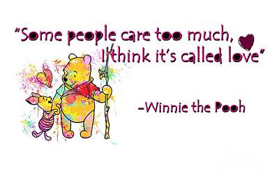Cute Digital Art - Pooh - Cute Love Quotes 1 by Prar Kulasekara