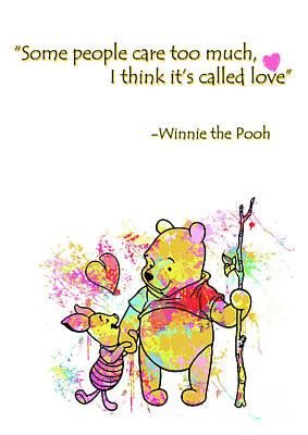 Abstract Digital Art - Pooh - Cute Love Quotes by Prar Kulasekara