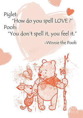 Pooh - Cute Quotes - Love Is..?  Art Print