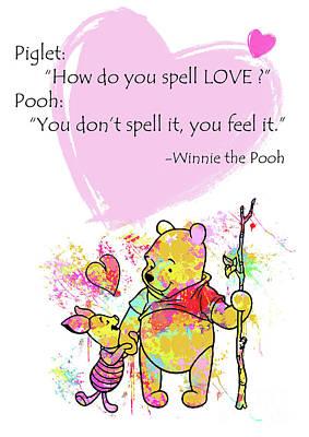 Love Digital Art - Pooh -  Spell Love... by Prar Kulasekara