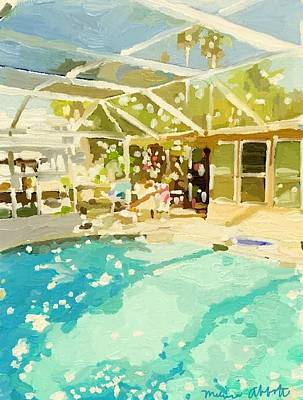 Painting - Pool And Screened Pool House by Melissa Abbott