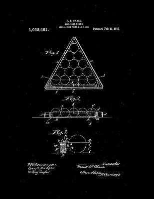 Vintage Photograph - Pool Ball Frame Patent 1913 by Claire  Doherty