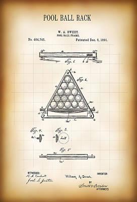 Pool Ball Rack Patent 1891 Art Print
