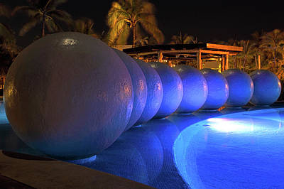 Night Photograph - Pool Balls At Night by Shane Bechler