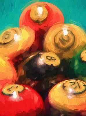 Billiard Mixed Media - Pool Balls  by Dan Sproul