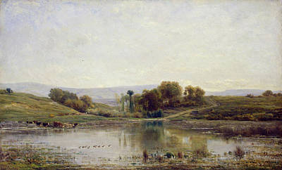 Realist Painting - Pool by Charles-Francois Daubigny