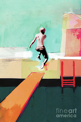 Summery Painting - Pool Day by David McConochie