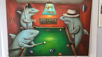 Fedora Painting - Pool Sharks by Leah Saulnier The Painting Maniac