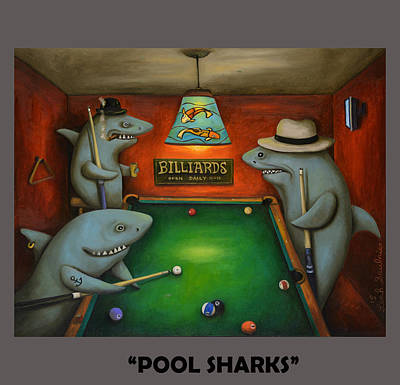Sharks Painting - Pool Sharks With Lettering by Leah Saulnier The Painting Maniac
