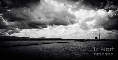 Photograph - Poolbeg Chimneys And Great Wall Dublin Port by Lexa Harpell