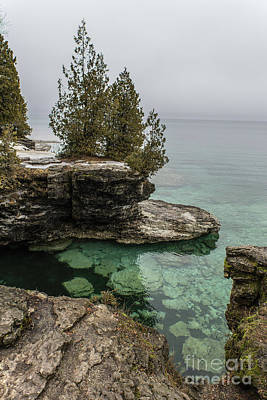 Nikki Vig Royalty-Free and Rights-Managed Images - Pools of Green Cave Point County Park Door County Wisconsin by Nikki Vig
