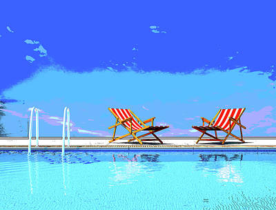 Poolside Chairs Art Print