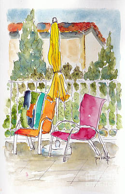 Deck-chairs Painting - Poolside Mas St Antoine by Pat Katz